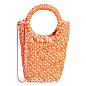 POOLSIDE BAGS Woven Straw Bag Chain Strap Orange